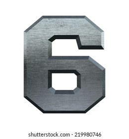 Number 6. Metal alphabet. Industrial metal font isolated on white.
