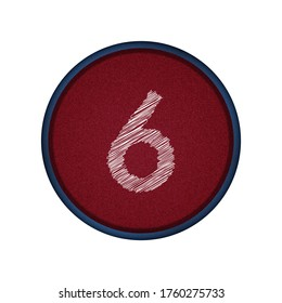 number 6 six embroidered on red cloth button and blue border, 3d illustration