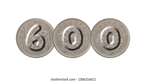 Number 600 with five pence coins