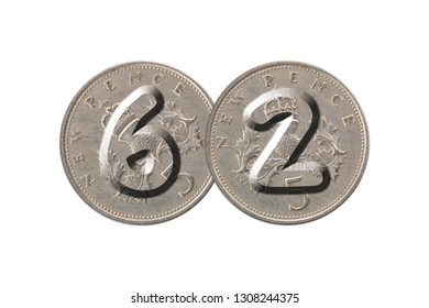 Number 62 with old coins