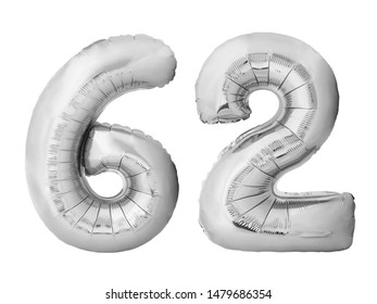 Number 62 sixty two made of silver inflatable balloons isolated on white background. Silver chrome helium balloons forming 62 sixty two number