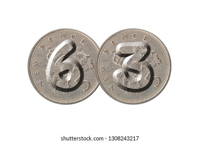 Number 63 with old coins