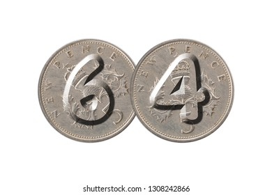 Number 64 with old coins