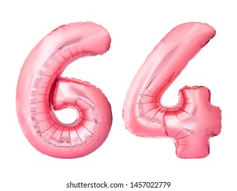 Number 64 sixty four made of rose gold inflatable balloons isolated on white background. Pink helium balloons forming 64 sixty four number