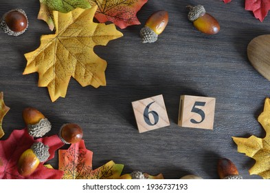Number 65, rating, award, Cover design in natural concept with Number cube decorate with maple leaf and Acorn Oak seed for your business.