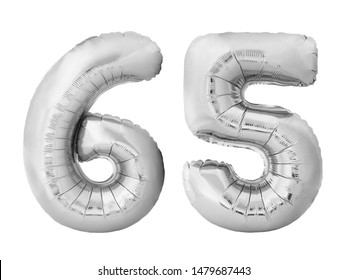 Number 65 sixty five made of silver inflatable balloons isolated on white background. Silver chrome helium balloons forming 65 sixty five number