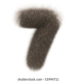 Number 7 from fur alphabet