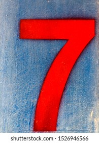 Number 7 red on the wall