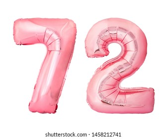 Number 72 seventy two of rose gold inflatable balloons isolated on white background. Pink helium balloons forming 72 seventy two