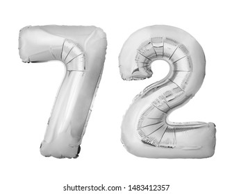 Number 72 seventy two of silver inflatable balloons isolated on white background. Silver chrome helium balloons forming 72 seventy two