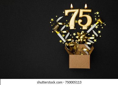 Number 75 Gold Celebration Candle And Gift Box Background