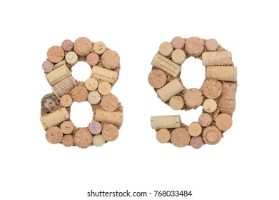 Number 8 and 9 made of wine corks isolated on white