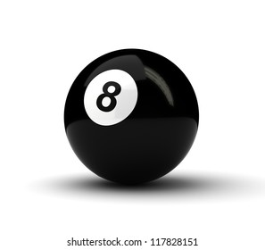Number 8 ball on white background (Computer generated image)