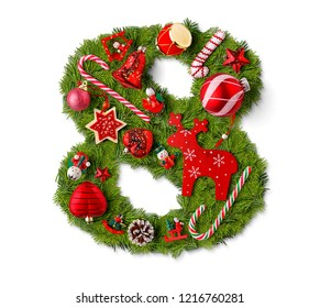 Number 8. Christmas tree decoration on a white background