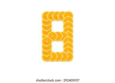 Number 8 (eight) alphabet, Made of sliced citrus, orange fruit Isolated on white background.
