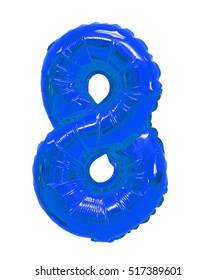 number 8 (eight) of blue balloons on a white background. discounts and sales, holidays and education