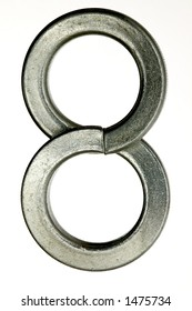 The number 8  made from nuts and bolts.