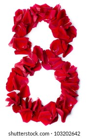 number 8 made from red petals rose