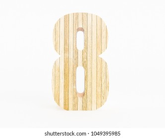 Number 8 made with wood on a white background. 3d Rendering.