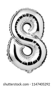 Number 8 of silver foil balloon isolated on a white background