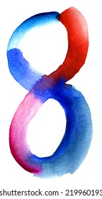 Number 8 written with a brush. Hand drawn letters. Watercolor. Blue collection.
