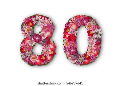 number 80   made of red hepatica flowers, 80th birthday