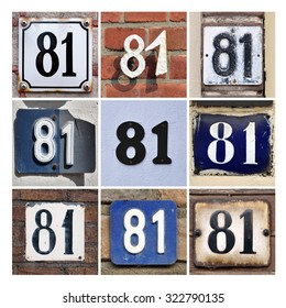 Number 81. Collage of House Numbers Eighty-one