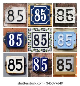 Number 85. Collage of House Numbers Eighty-five.