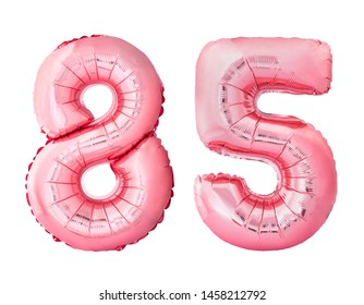 Number 85 eighty five of rose gold inflatable balloons isolated on white background. Pink helium balloons forming 85 eighty five number