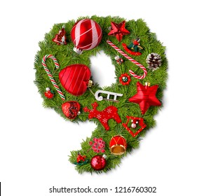 Number 9. Christmas tree decoration on a white background
