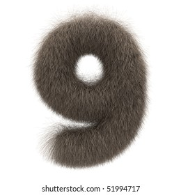 Number 9 from fur alphabet