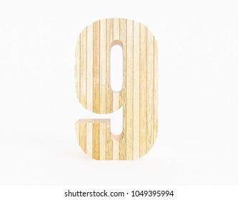 Number 9 made with wood on a white background. 3d Rendering.