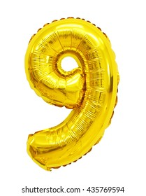 number 9 (nine) of yellow (Golden) balloons on a white background. discounts and sales, holidays and education