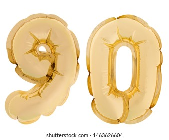 Number 90, ninety, gold colour helium balloons isolated on white background. Gold colour.
