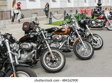 A number of bikes in the parking lot. St. Petersburg, Russia - 12 August, 2016. The annual International Festival of Motor Harley Davidson in St. Petersburg Ostrovsky Square.