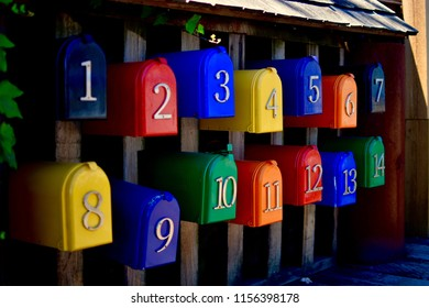 Number and Color Mailboxes in Granville Island, Vancouver