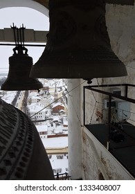 A number of different-caliber bells in the Prepodobenskaya bell tower of the rizopolozhensky monastery. Suzdal, Golden Ring, Russia, winter, a UNESCO site. Ancient architecture