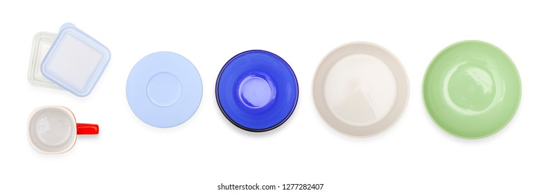 number of dishware items isolated on white, top view