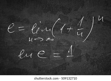Number e which is a base of natural logarithm as a limit of infinite series