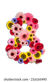 Number Eight 8, flower alphabet isolated on white.