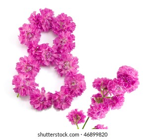 The number eight from flowers