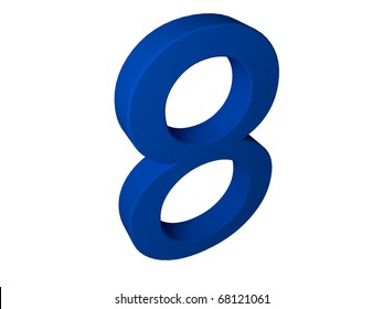 Number eight isolated on white background.