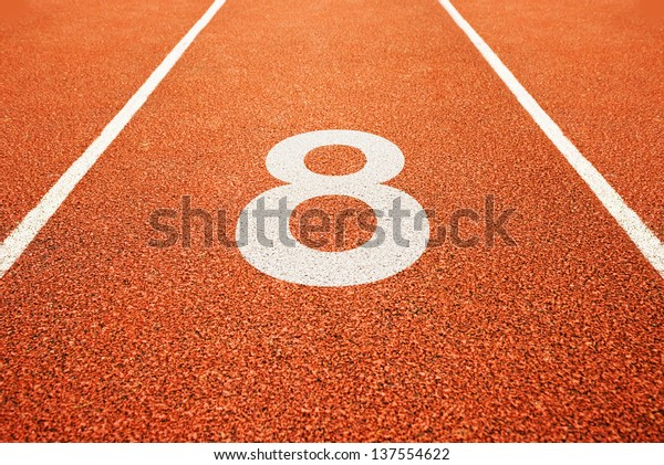 Number eight on athletics all weather running track