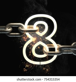number eight  on the steel chain isolated on black  background. High resolution 3d