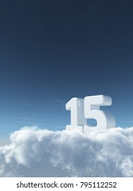 number fifteen on clouds - 3d rendering