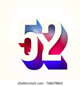 Number fifty two 52 of blue and red color with colorful abstract gradient shadow. 3d render of bold  font number isolated on light background
