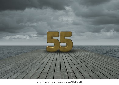 number fifty-five on wooden floor at ocean
