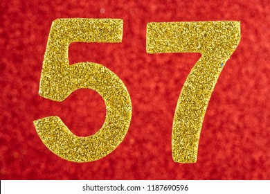 Number fifty-seven gold color over a red background. Anniversary. Horizontal