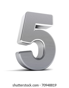 The number five as a brushed chrome object over white