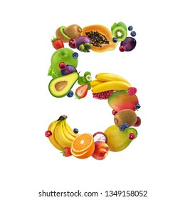 Number five made of different fruits and berries, fruit alphabet isolated on white background with clipping path